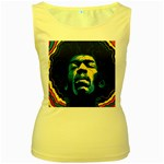 Gabz Jimi Hendrix Voodoo Child Poster Release From Dark Hall Mansion Women s Yellow Tank Top Front