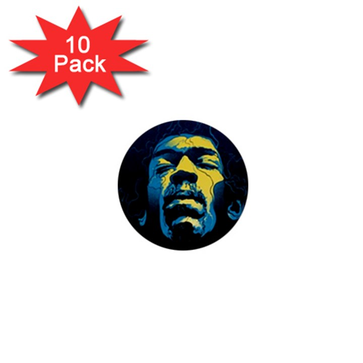 Gabz Jimi Hendrix Voodoo Child Poster Release From Dark Hall Mansion 1  Mini Buttons (10 pack)