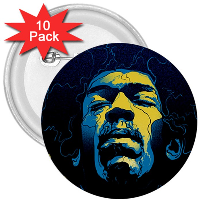 Gabz Jimi Hendrix Voodoo Child Poster Release From Dark Hall Mansion 3  Buttons (10 pack)