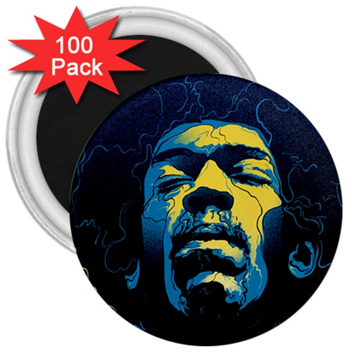 Gabz Jimi Hendrix Voodoo Child Poster Release From Dark Hall Mansion 3  Magnets (100 pack)