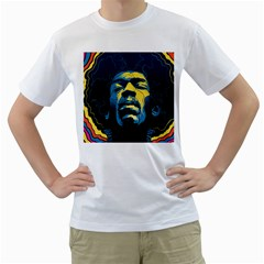 Gabz Jimi Hendrix Voodoo Child Poster Release From Dark Hall Mansion Men s T-Shirt (White) (Two Sided)