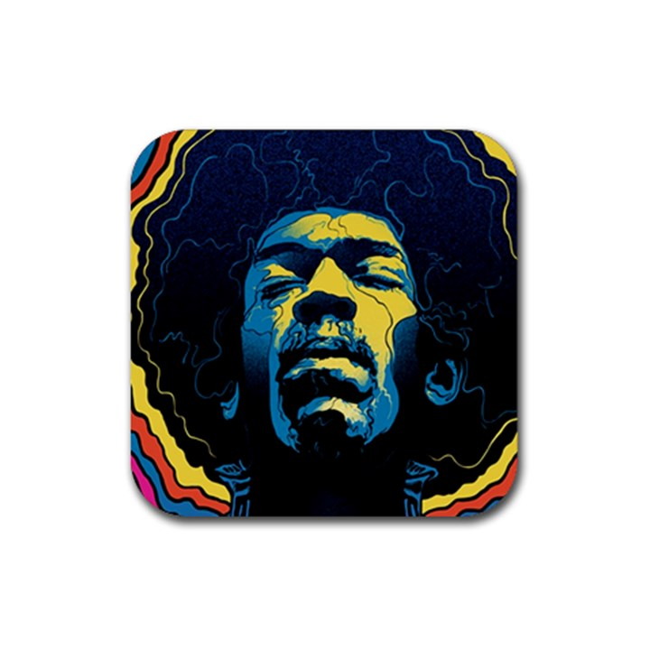 Gabz Jimi Hendrix Voodoo Child Poster Release From Dark Hall Mansion Rubber Square Coaster (4 pack)