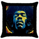 Gabz Jimi Hendrix Voodoo Child Poster Release From Dark Hall Mansion Throw Pillow Case (Black) Front