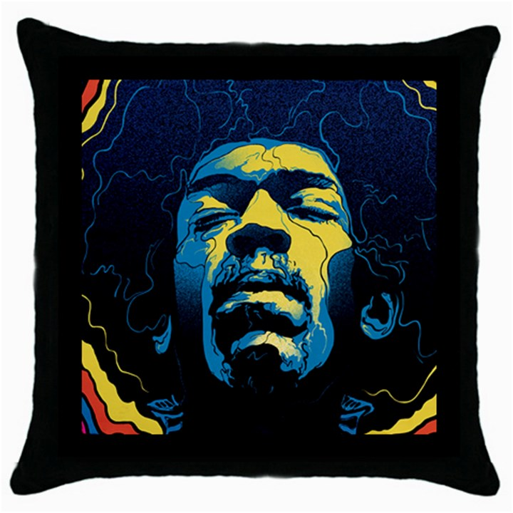 Gabz Jimi Hendrix Voodoo Child Poster Release From Dark Hall Mansion Throw Pillow Case (Black)