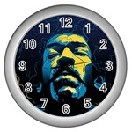 Gabz Jimi Hendrix Voodoo Child Poster Release From Dark Hall Mansion Wall Clocks (Silver)  Front