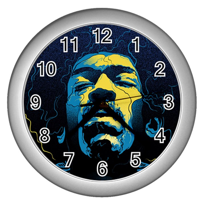 Gabz Jimi Hendrix Voodoo Child Poster Release From Dark Hall Mansion Wall Clocks (Silver)