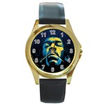 Gabz Jimi Hendrix Voodoo Child Poster Release From Dark Hall Mansion Round Gold Metal Watch Front