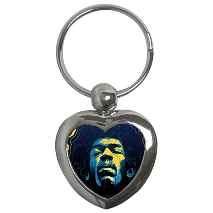 Gabz Jimi Hendrix Voodoo Child Poster Release From Dark Hall Mansion Key Chains (Heart)