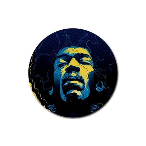 Gabz Jimi Hendrix Voodoo Child Poster Release From Dark Hall Mansion Rubber Coaster (Round)