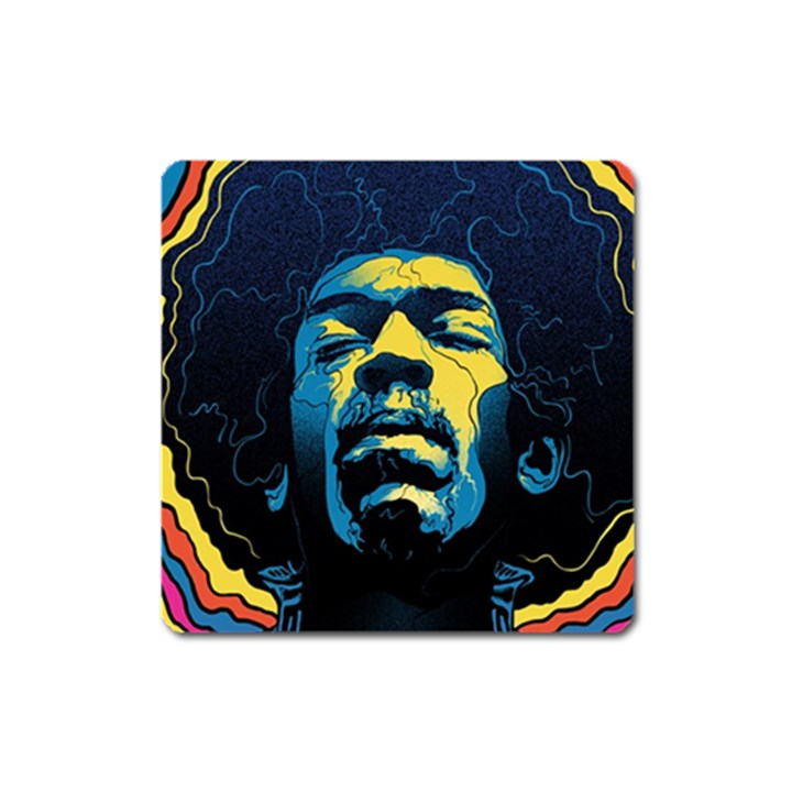 Gabz Jimi Hendrix Voodoo Child Poster Release From Dark Hall Mansion Square Magnet