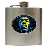 Gabz Jimi Hendrix Voodoo Child Poster Release From Dark Hall Mansion Hip Flask (6 oz) Front
