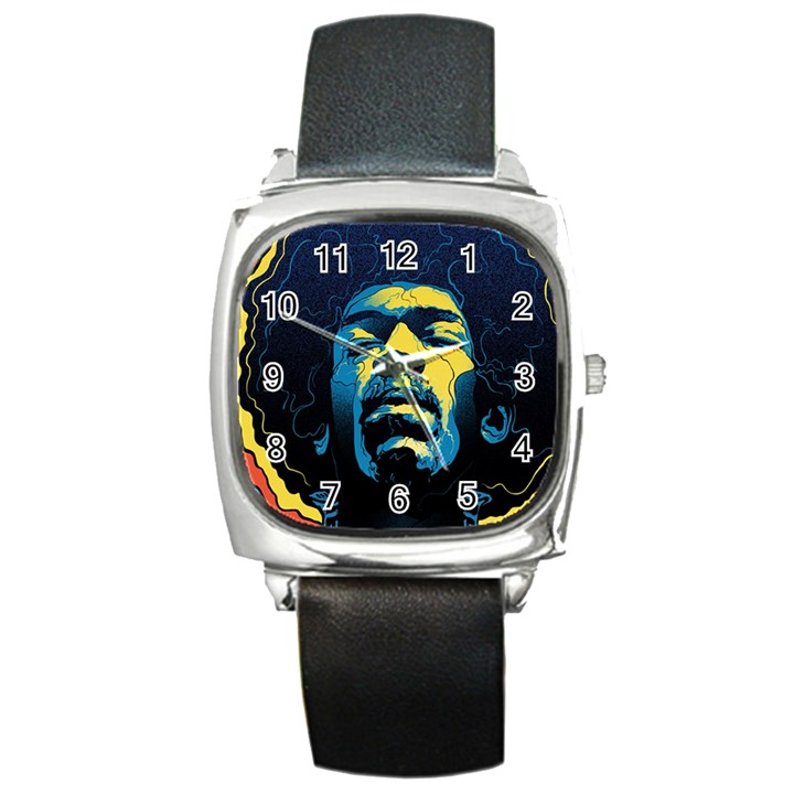 Gabz Jimi Hendrix Voodoo Child Poster Release From Dark Hall Mansion Square Metal Watch