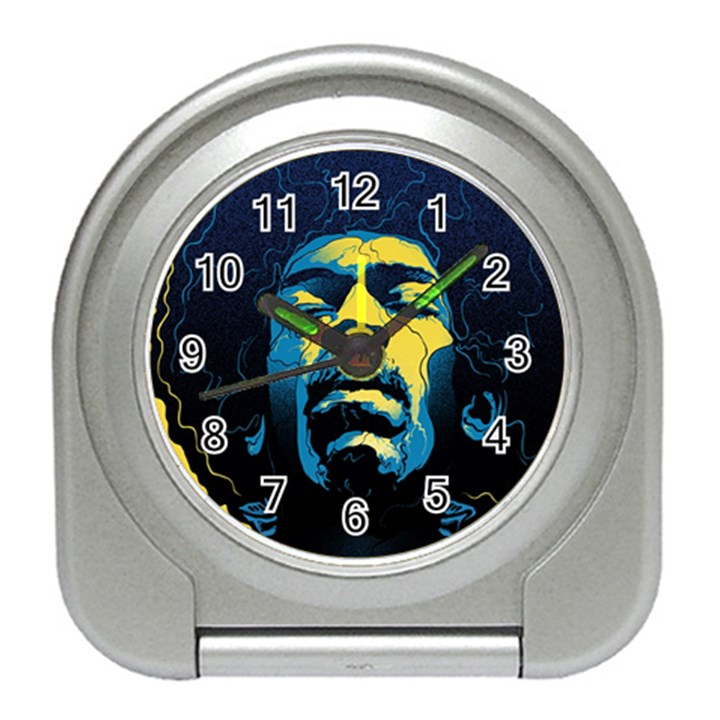 Gabz Jimi Hendrix Voodoo Child Poster Release From Dark Hall Mansion Travel Alarm Clocks
