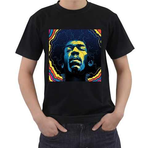Gabz Jimi Hendrix Voodoo Child Poster Release From Dark Hall Mansion Men s T-Shirt (Black) (Two Sided)