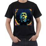 Gabz Jimi Hendrix Voodoo Child Poster Release From Dark Hall Mansion Men s T-Shirt (Black) (Two Sided) Front