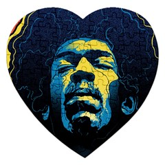 Gabz Jimi Hendrix Voodoo Child Poster Release From Dark Hall Mansion Jigsaw Puzzle (Heart)