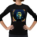 Gabz Jimi Hendrix Voodoo Child Poster Release From Dark Hall Mansion Women s Long Sleeve Dark T-Shirts Front