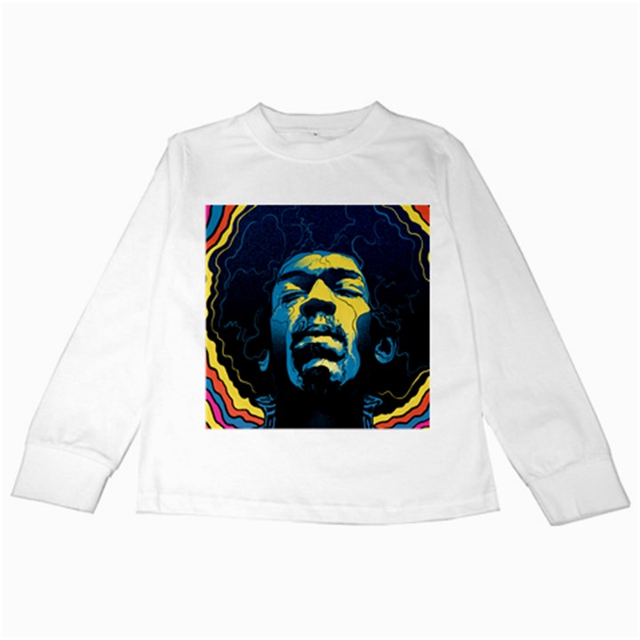 Gabz Jimi Hendrix Voodoo Child Poster Release From Dark Hall Mansion Kids Long Sleeve T-Shirts