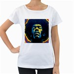 Gabz Jimi Hendrix Voodoo Child Poster Release From Dark Hall Mansion Women s Loose-Fit T-Shirt (White) Front