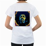 Gabz Jimi Hendrix Voodoo Child Poster Release From Dark Hall Mansion Women s Loose-Fit T-Shirt (White) Back
