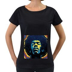 Gabz Jimi Hendrix Voodoo Child Poster Release From Dark Hall Mansion Women s Loose-Fit T-Shirt (Black)