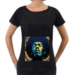 Gabz Jimi Hendrix Voodoo Child Poster Release From Dark Hall Mansion Women s Loose-Fit T-Shirt (Black) Front