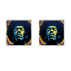 Gabz Jimi Hendrix Voodoo Child Poster Release From Dark Hall Mansion Cufflinks (Square)