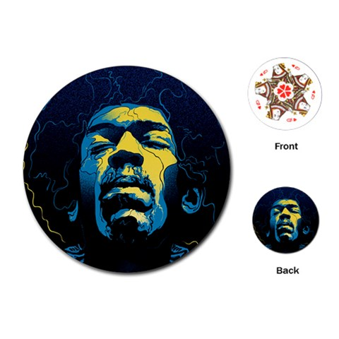 Gabz Jimi Hendrix Voodoo Child Poster Release From Dark Hall Mansion Playing Cards (Round)