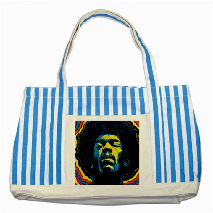 Gabz Jimi Hendrix Voodoo Child Poster Release From Dark Hall Mansion Striped Blue Tote Bag