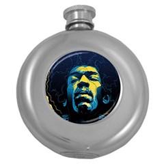 Gabz Jimi Hendrix Voodoo Child Poster Release From Dark Hall Mansion Round Hip Flask (5 oz)