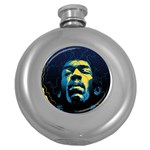 Gabz Jimi Hendrix Voodoo Child Poster Release From Dark Hall Mansion Round Hip Flask (5 oz) Front