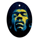 Gabz Jimi Hendrix Voodoo Child Poster Release From Dark Hall Mansion Oval Ornament (Two Sides) Back