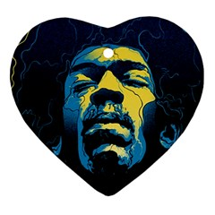 Gabz Jimi Hendrix Voodoo Child Poster Release From Dark Hall Mansion Heart Ornament (2 Sides)