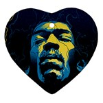 Gabz Jimi Hendrix Voodoo Child Poster Release From Dark Hall Mansion Heart Ornament (2 Sides) Front
