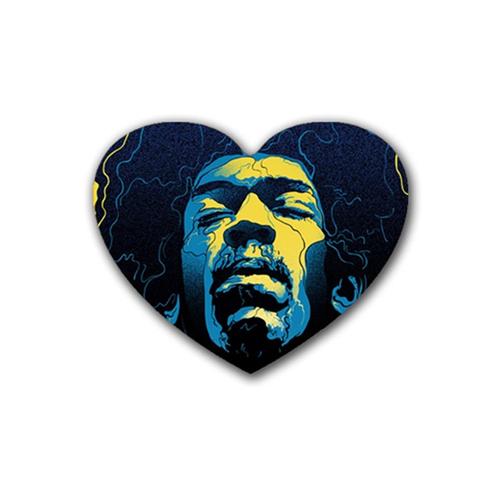 Gabz Jimi Hendrix Voodoo Child Poster Release From Dark Hall Mansion Rubber Coaster (Heart)