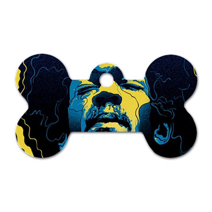 Gabz Jimi Hendrix Voodoo Child Poster Release From Dark Hall Mansion Dog Tag Bone (One Side)