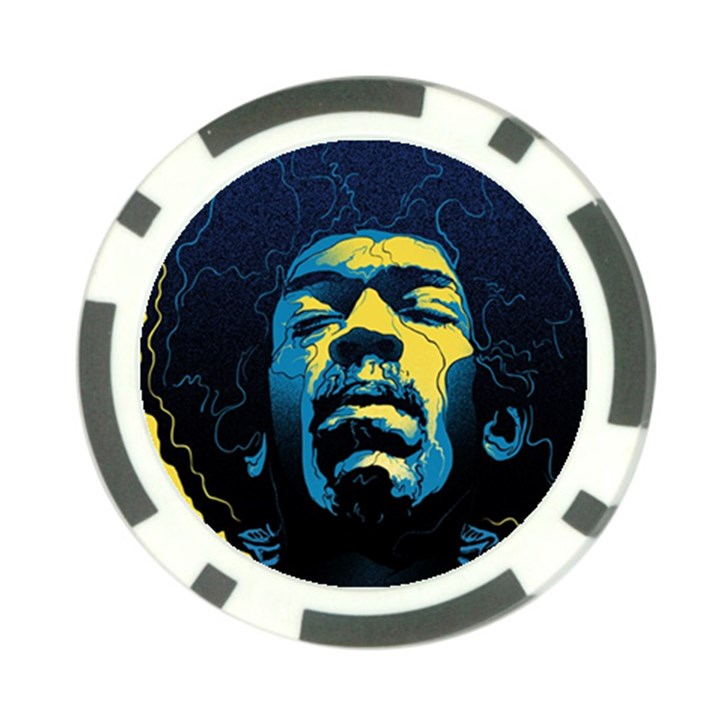 Gabz Jimi Hendrix Voodoo Child Poster Release From Dark Hall Mansion Poker Chip Card Guards