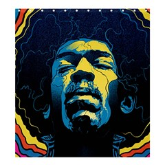 Gabz Jimi Hendrix Voodoo Child Poster Release From Dark Hall Mansion Shower Curtain 66  X 72  (large)