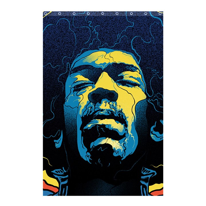 Gabz Jimi Hendrix Voodoo Child Poster Release From Dark Hall Mansion Shower Curtain 48  x 72  (Small)