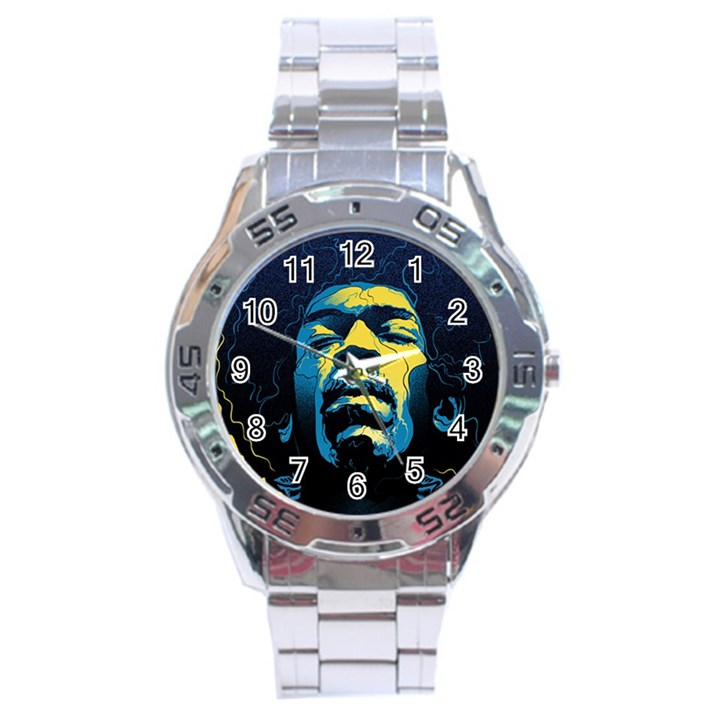 Gabz Jimi Hendrix Voodoo Child Poster Release From Dark Hall Mansion Stainless Steel Analogue Watch