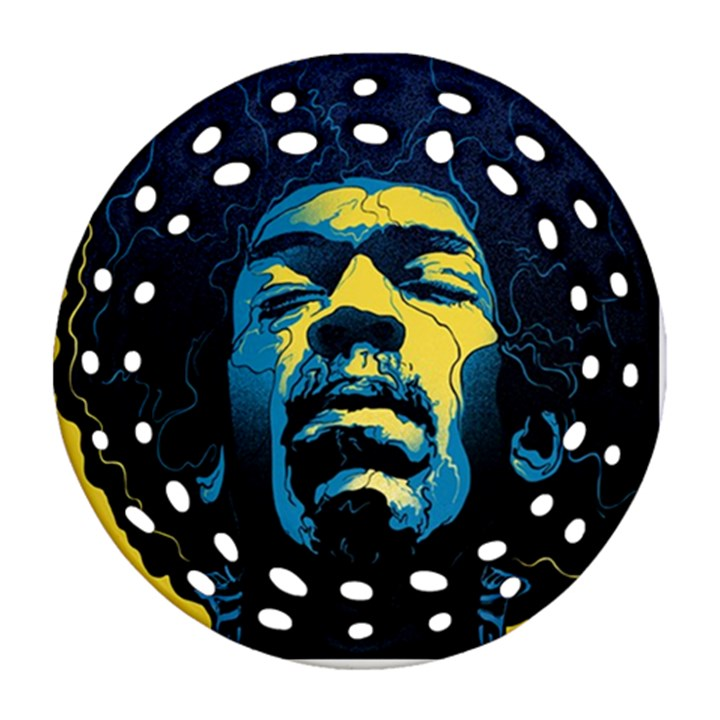 Gabz Jimi Hendrix Voodoo Child Poster Release From Dark Hall Mansion Ornament (Round Filigree)