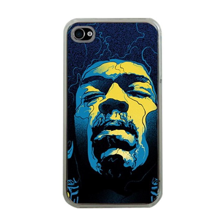 Gabz Jimi Hendrix Voodoo Child Poster Release From Dark Hall Mansion Apple iPhone 4 Case (Clear)