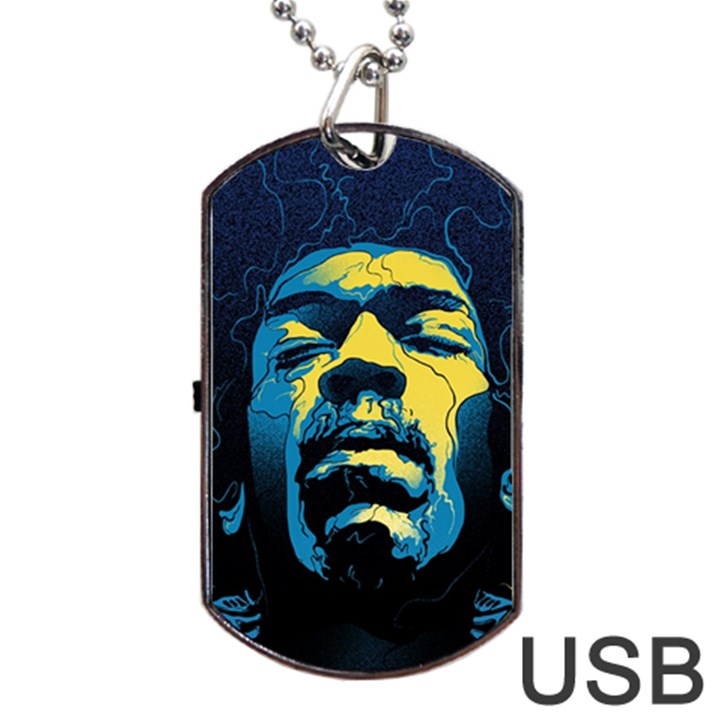 Gabz Jimi Hendrix Voodoo Child Poster Release From Dark Hall Mansion Dog Tag USB Flash (One Side)