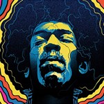 Gabz Jimi Hendrix Voodoo Child Poster Release From Dark Hall Mansion Laugh Live Love 3D Greeting Card (8x4) Inside
