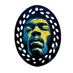 Gabz Jimi Hendrix Voodoo Child Poster Release From Dark Hall Mansion Oval Filigree Ornament (2-Side)  Front