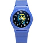 Gabz Jimi Hendrix Voodoo Child Poster Release From Dark Hall Mansion Round Plastic Sport Watch (S) Front