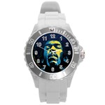 Gabz Jimi Hendrix Voodoo Child Poster Release From Dark Hall Mansion Round Plastic Sport Watch (L) Front