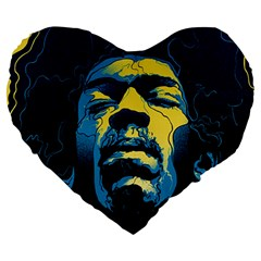 Gabz Jimi Hendrix Voodoo Child Poster Release From Dark Hall Mansion Large 19  Premium Heart Shape Cushions