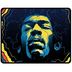 Gabz Jimi Hendrix Voodoo Child Poster Release From Dark Hall Mansion Double Sided Fleece Blanket (Medium)
