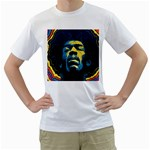 Gabz Jimi Hendrix Voodoo Child Poster Release From Dark Hall Mansion Men s T-Shirt (White)  Front